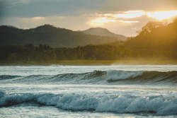 Sunlight on the waves in costa rica
