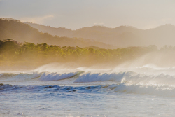 Spray coming off the waves in Costa Rica