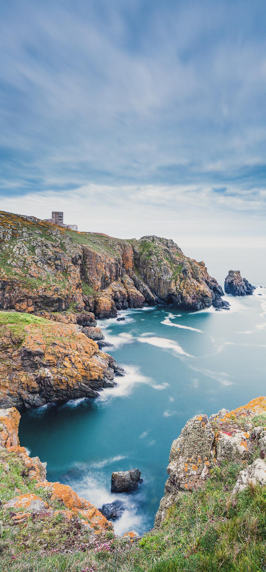 A rocky shoreline landscape