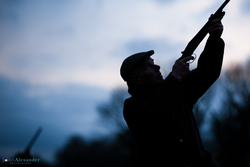 silhouette of gun shooting at dusk
