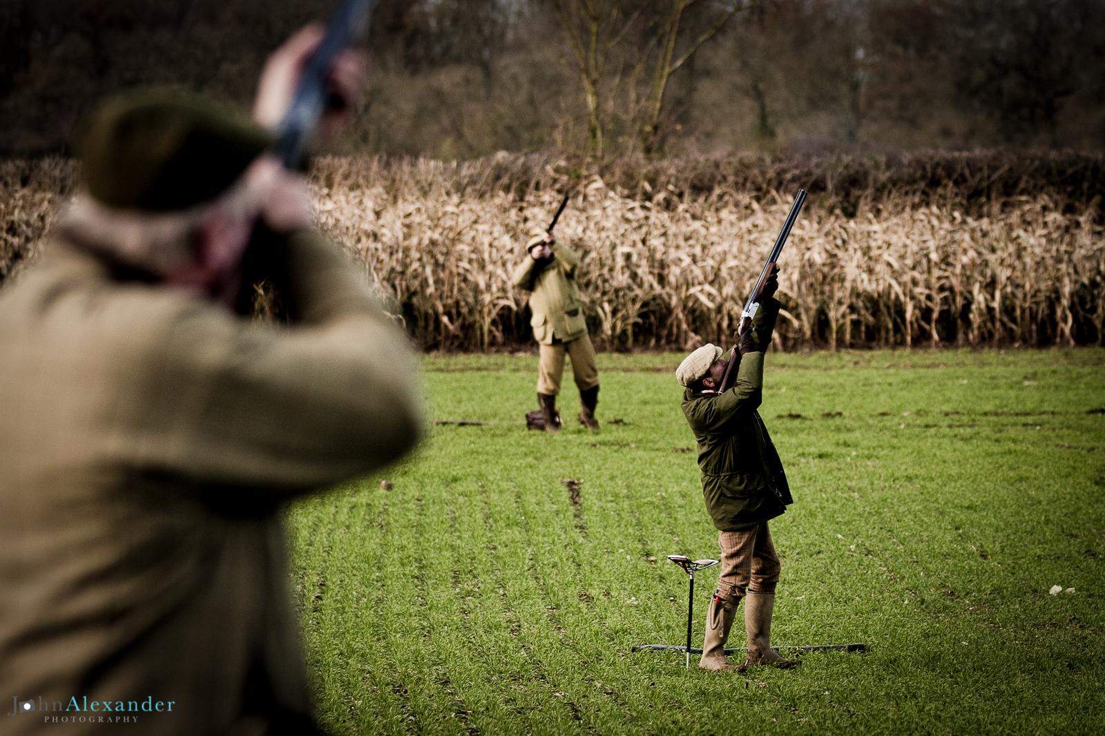 line of guns shooting pheasants at at driven pheasant shoot