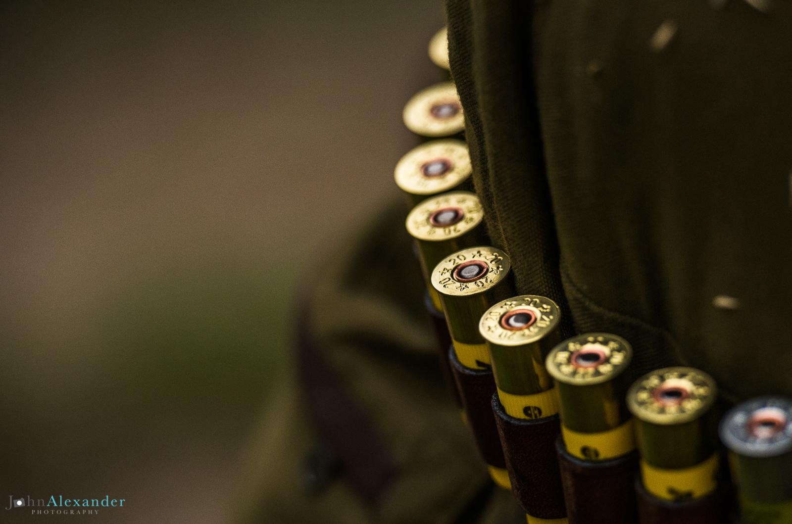 shotgun cartridge belt on a shoot in Wales, UK