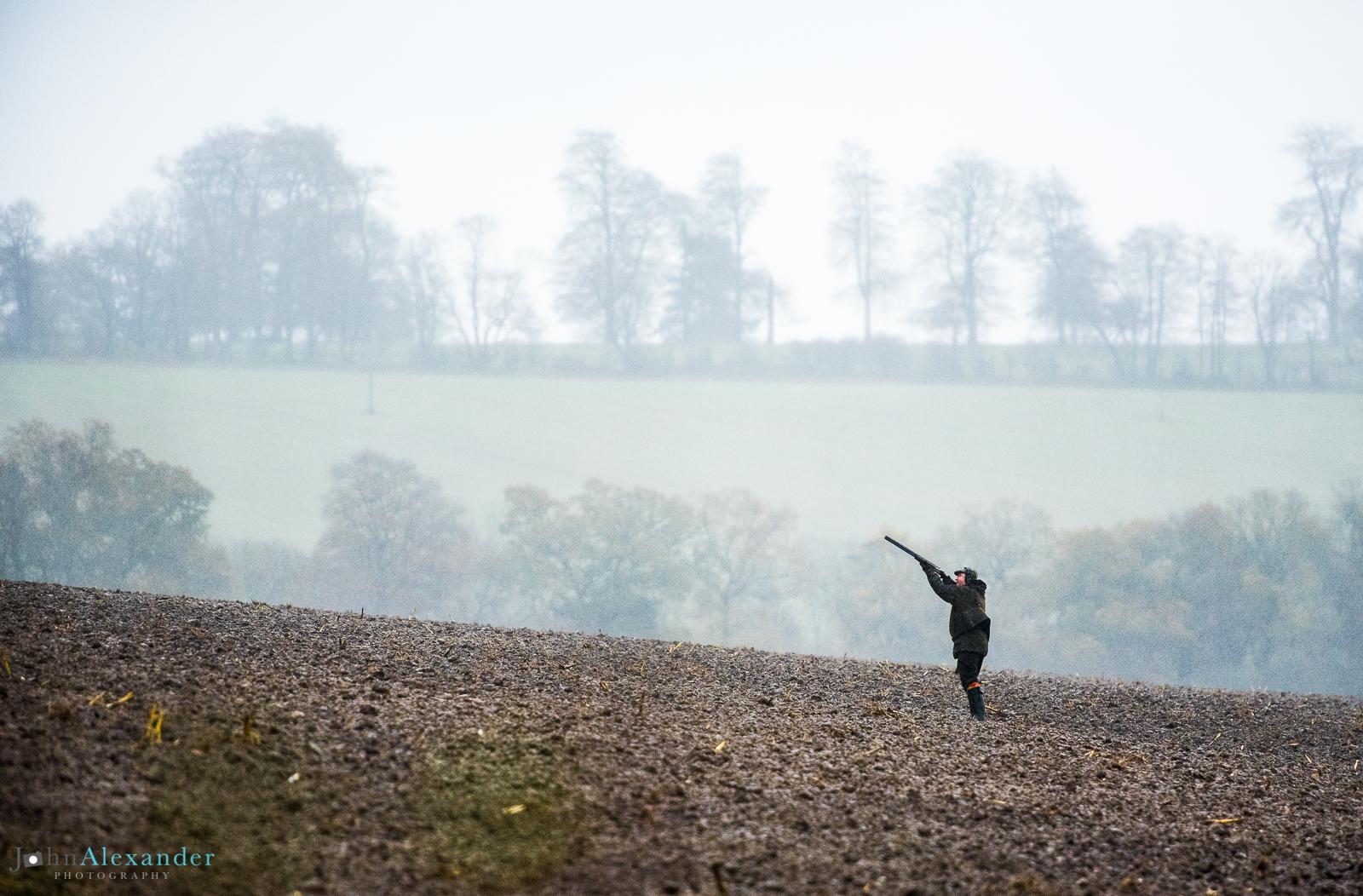 gun shooting in the mist in the UK