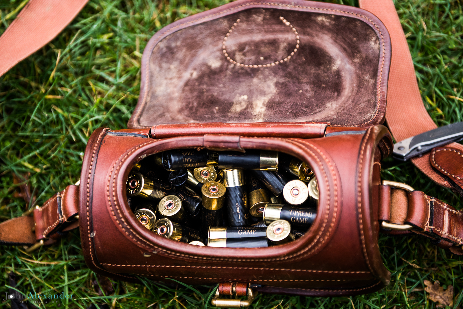 leather loaders bag with shotgun cartridges