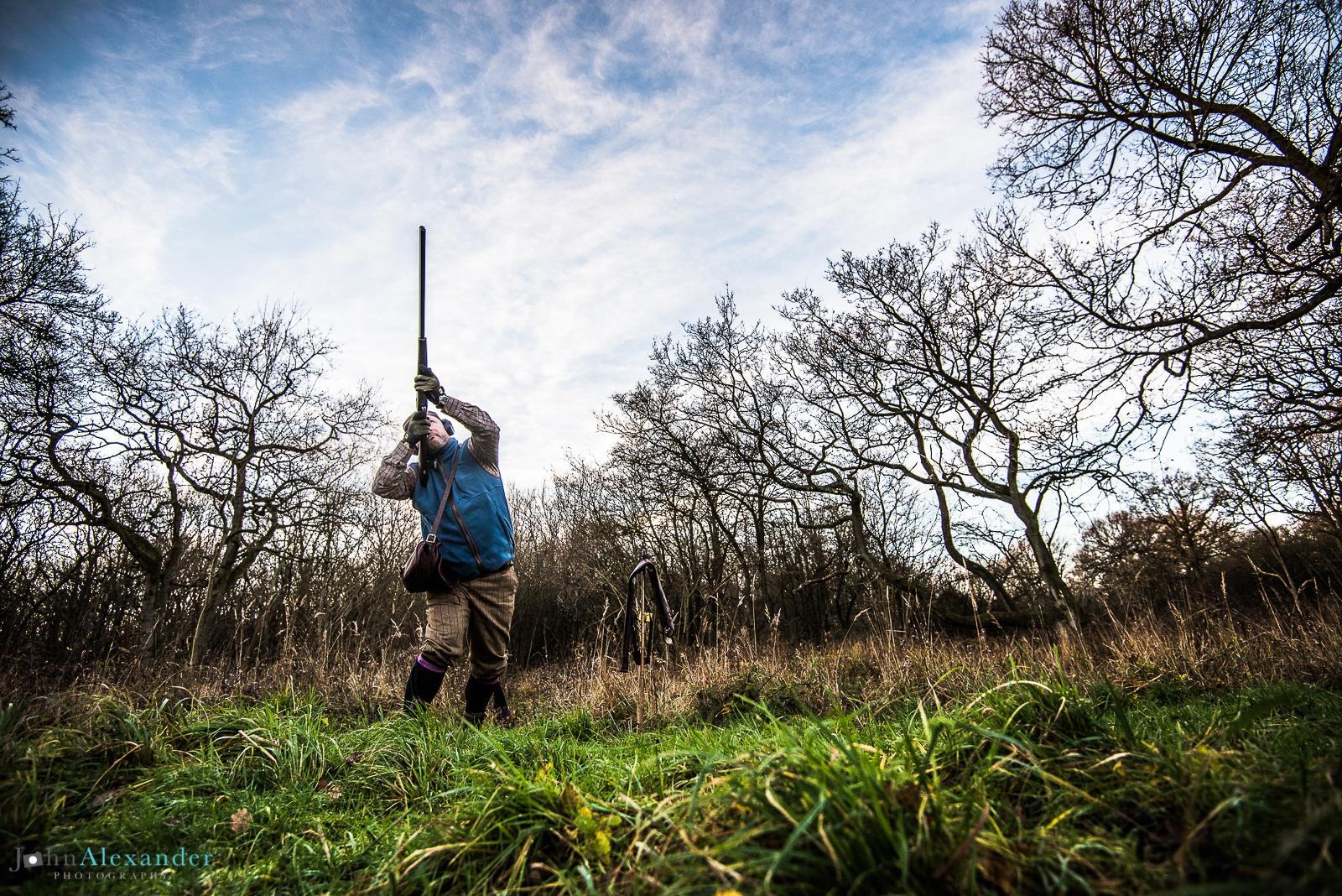 gun shooting high pheasant in a wood