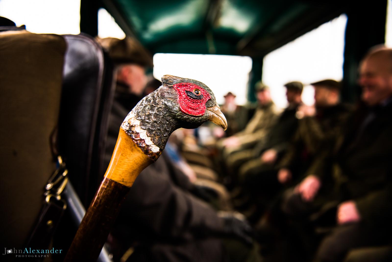 pheasant stick on shoot bus with guns