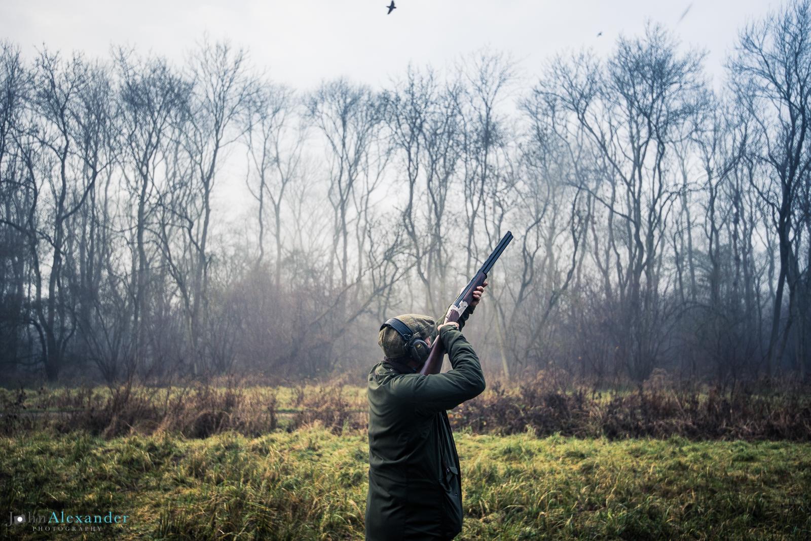 gun shooting high pheasant on woodland drive
