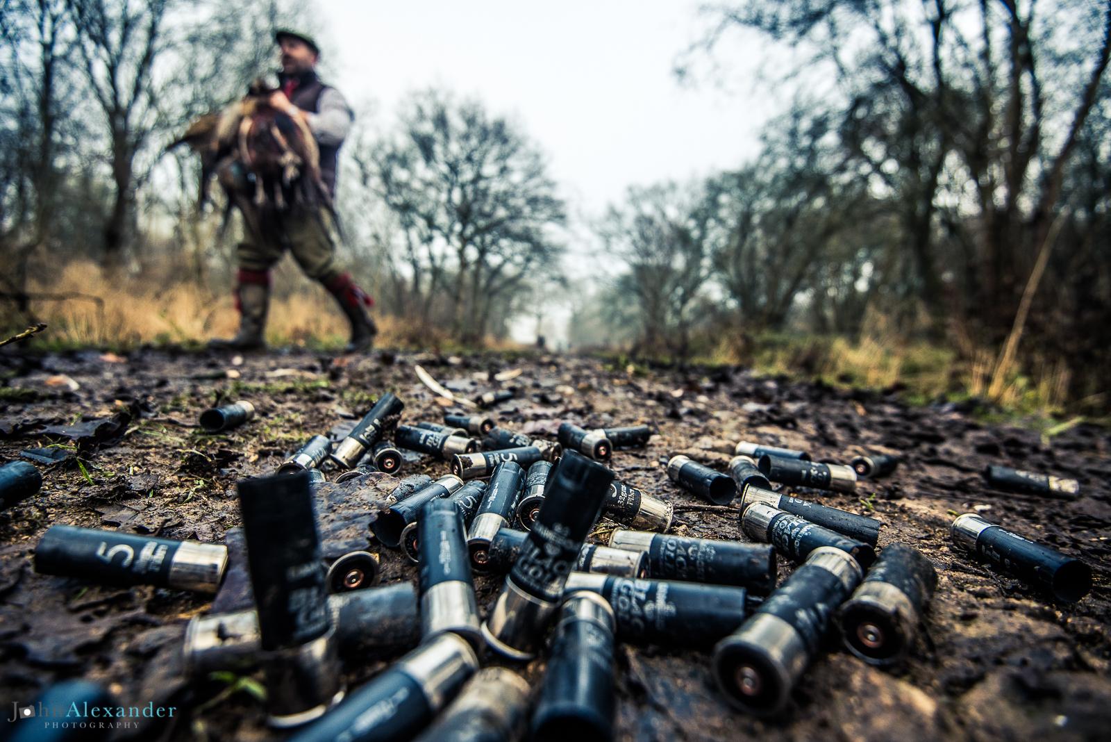 used cartridges on floor with gun carrying pheasants