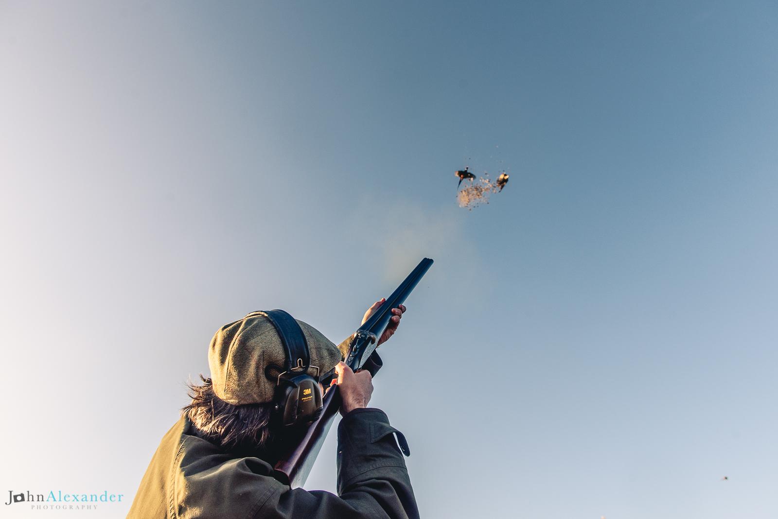 Gun shooting at two pheasants in blue skies