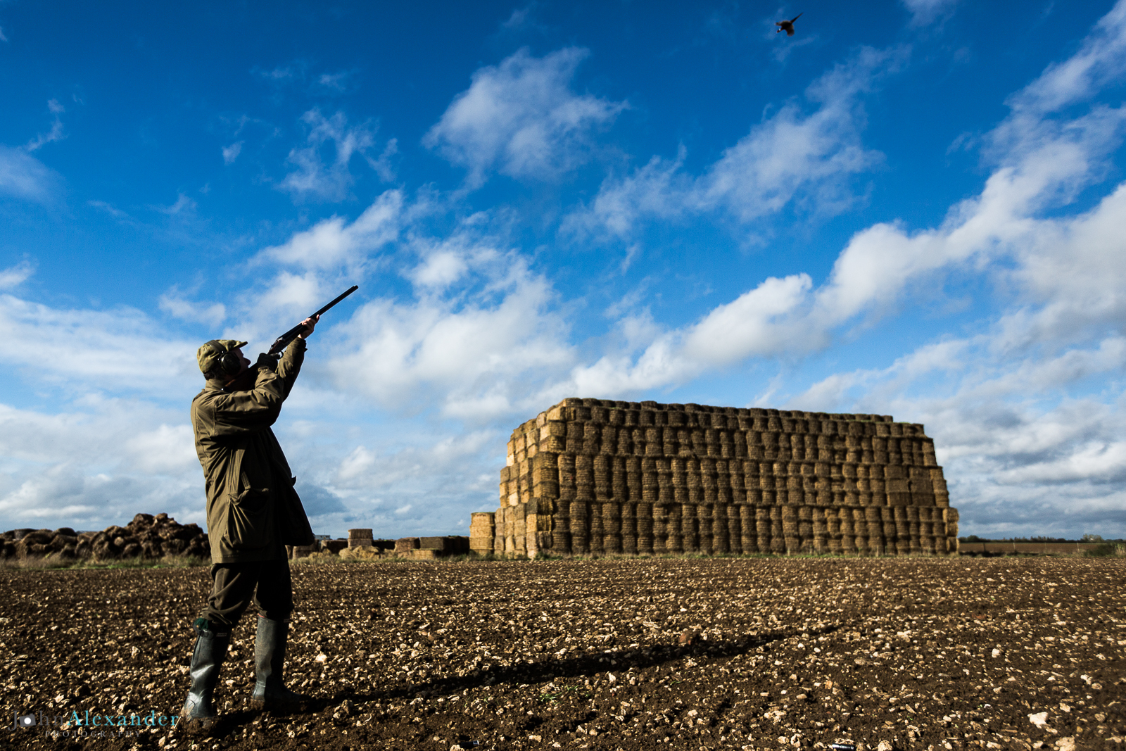 gun shoot in a filed with stack of bales behind on a pheasant shoot