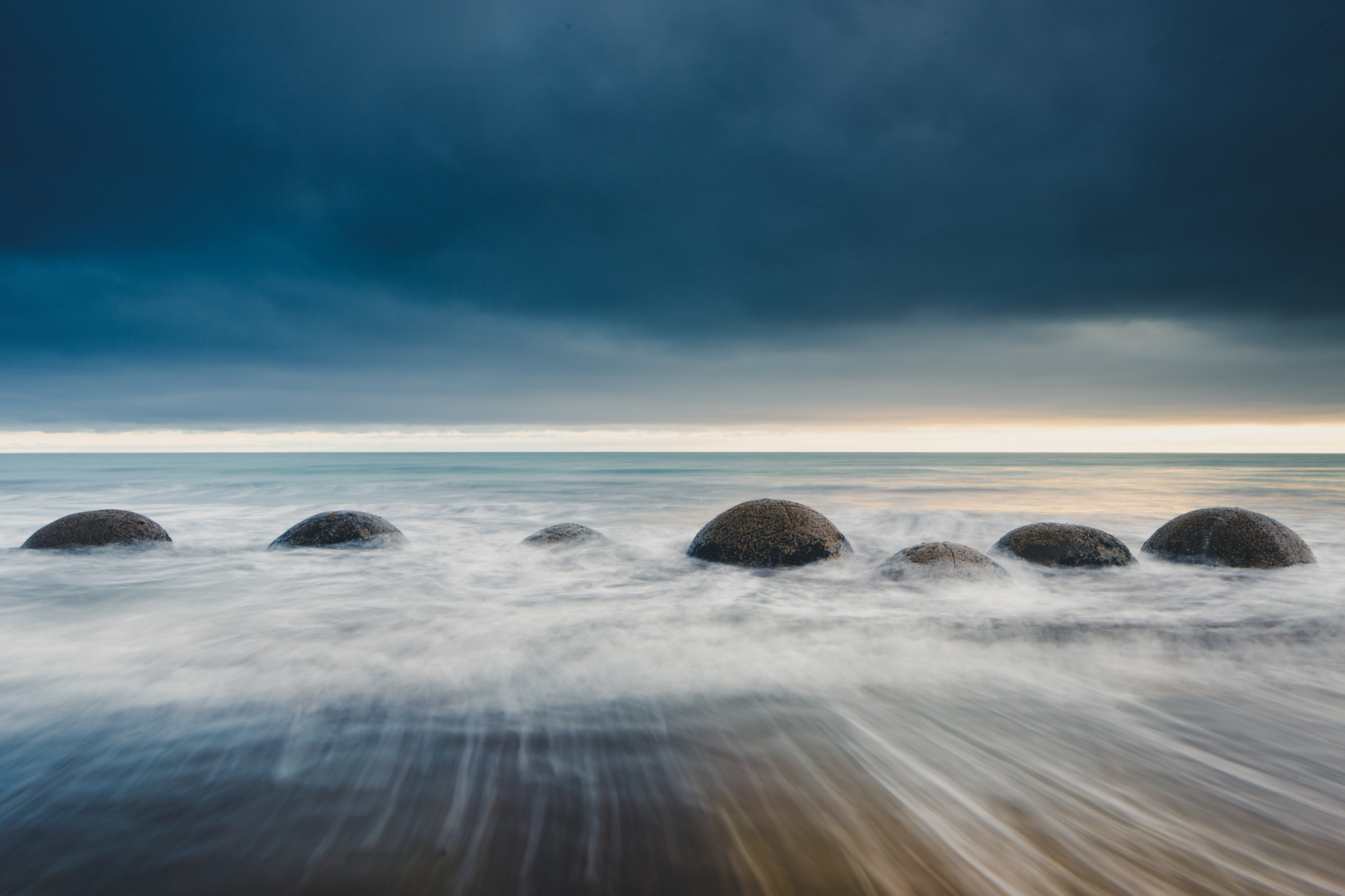 A line of rocks in the waves