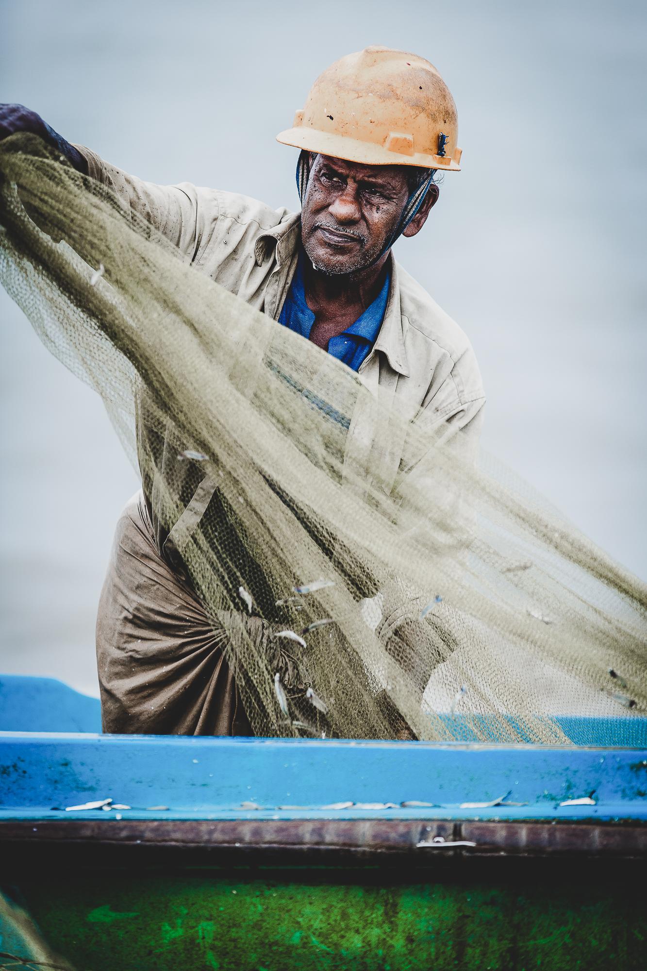 Fisherman Unloading His Net