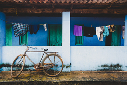 Washing line hanging outside a house