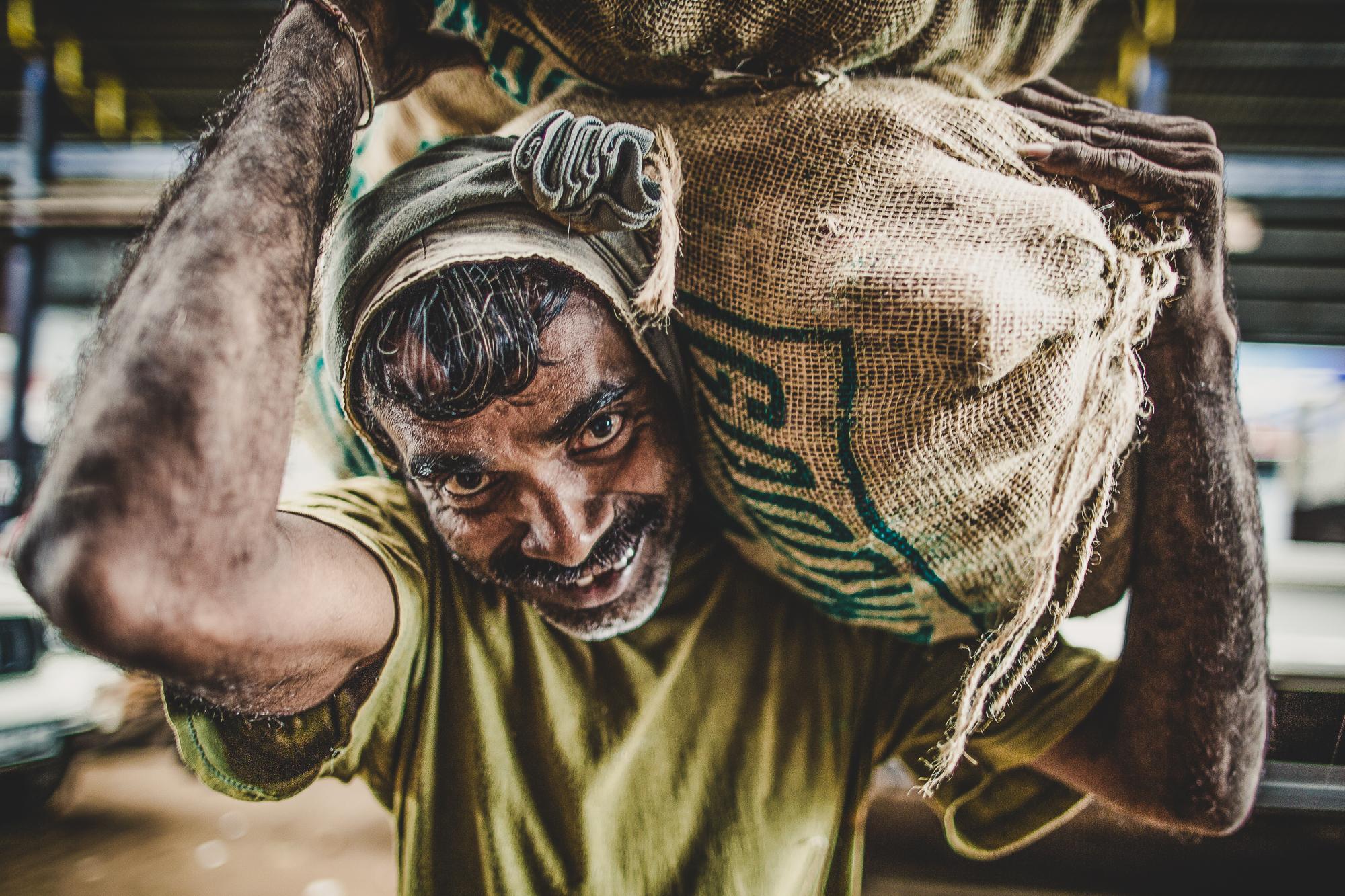 Man carrying sacks