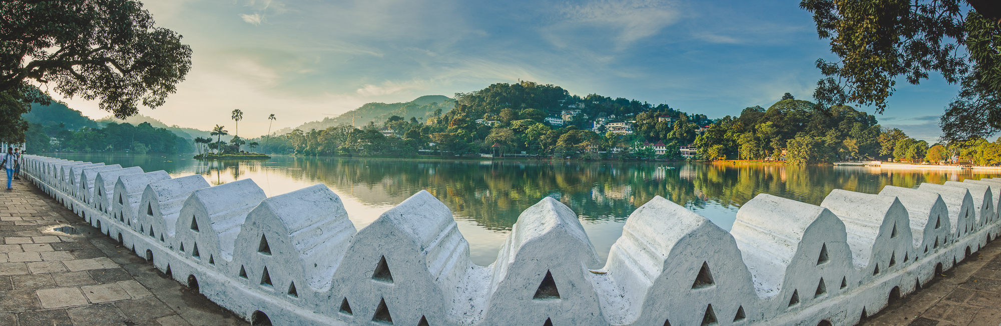 Wide shot of the lake in KAndy