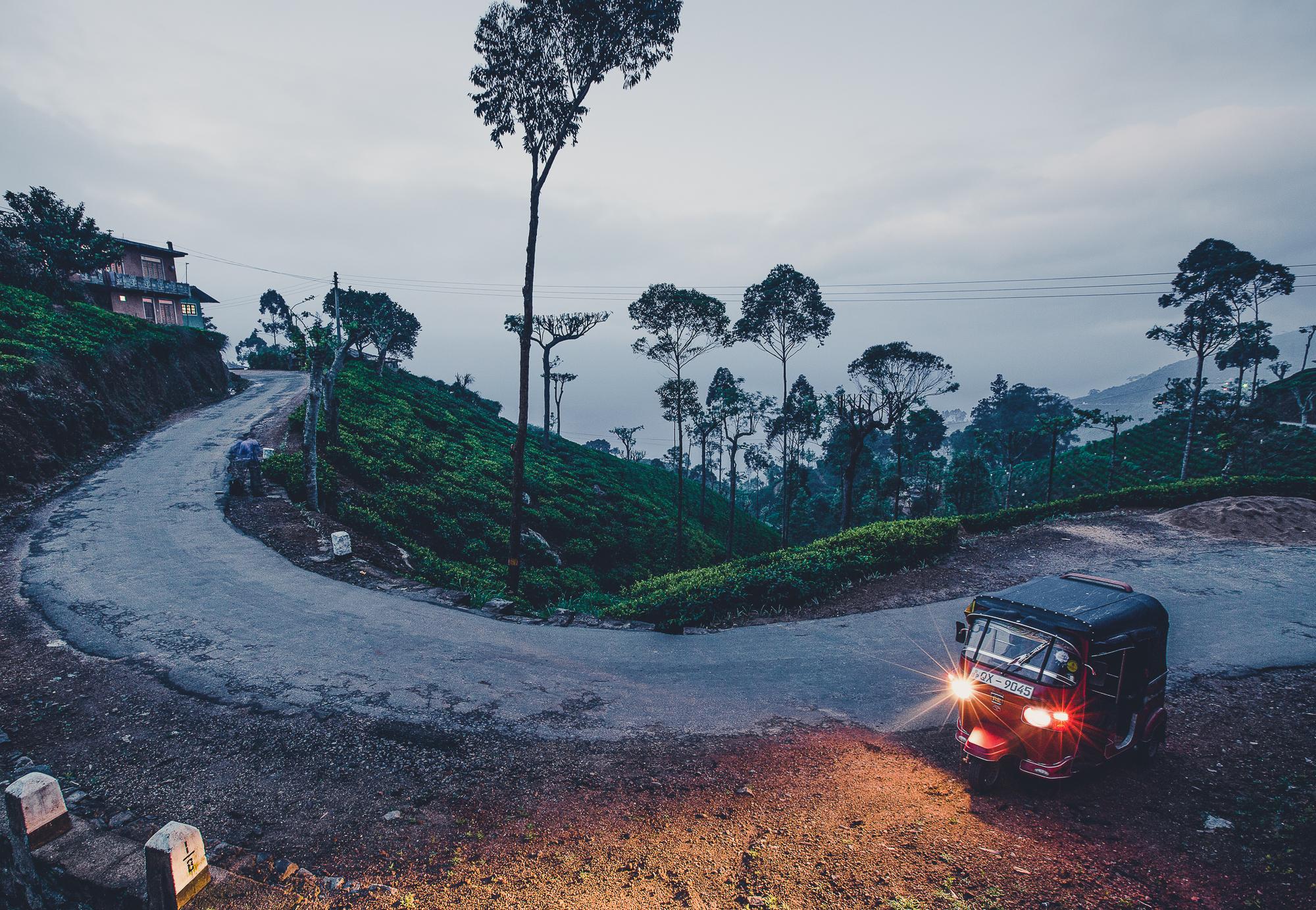 Tuk Tuk on the road at dusk
